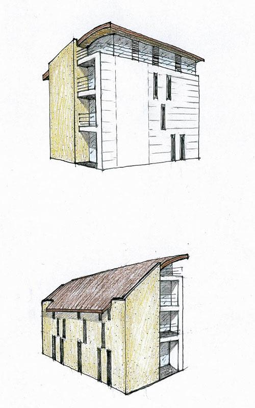 progetto per complesso appartamenti a Valdobbiadene disegno