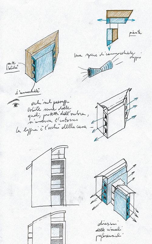 progetto per complesso appartamenti a Valdobbiadene schizzi